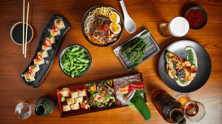 Roka Akor meal and drink spread