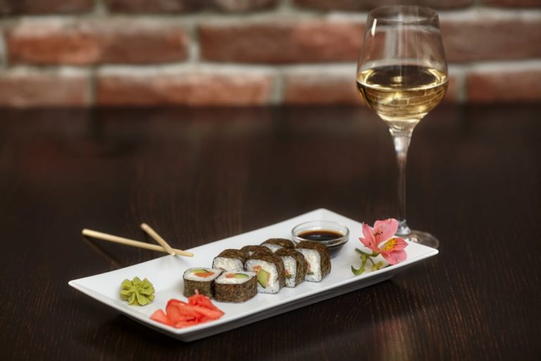 wine and sushi combo