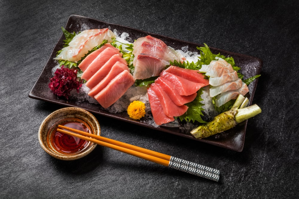Various types of sushi on a plate