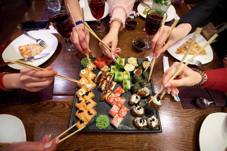 plate of shared sushi catered