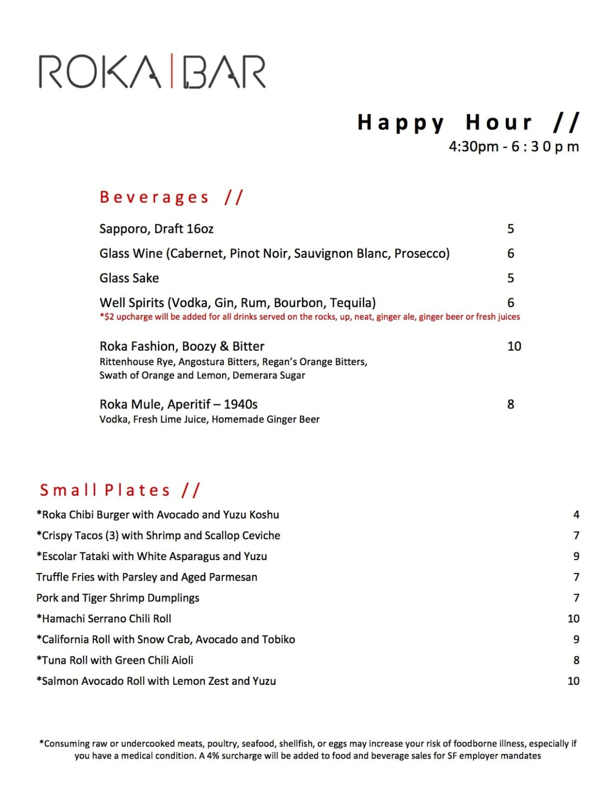 , SAN FRANCISCO HAPPY HOUR in ROKA BAR